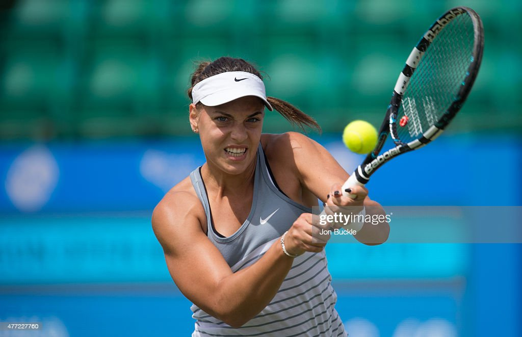 Ana Konjuh of Croatia returns a shot during her match against Monica Niculescu of Romania at Nottingham Tennis Centre on June 15, 2015 in Nottingham, England.