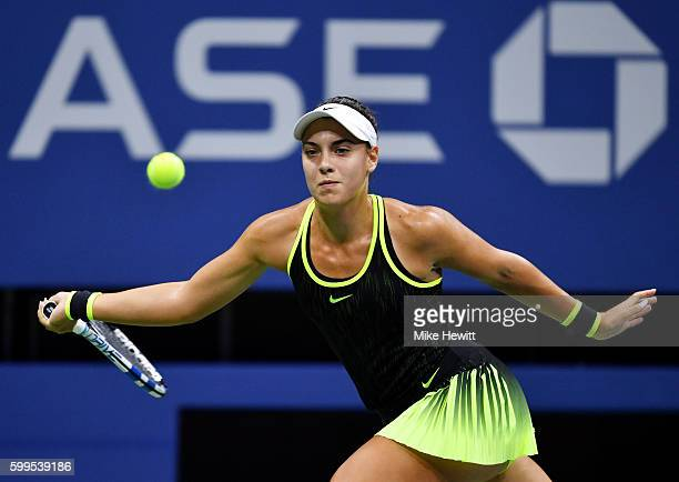 Ana Konjuh of Croatia returns a shot to Agnieszka Radwanska of Poland during her fourth round Women's Singles match on Day Eight of the 2016 US Open...