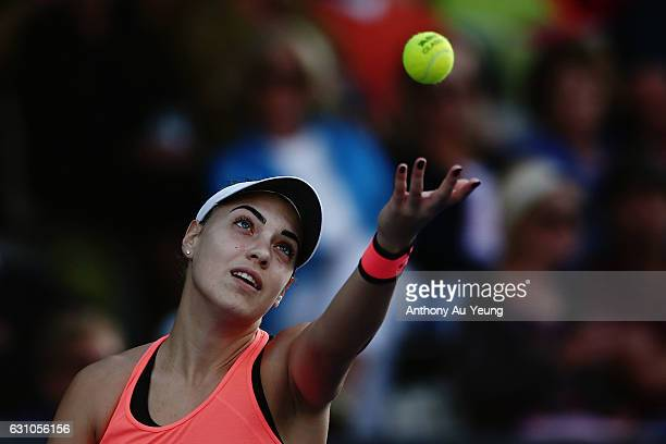 Ana Konjuh of Croatia serves in her semi final match against Julia Goerges of Germany on day five of the ASB Classic on January 6 2017 in Auckland...
