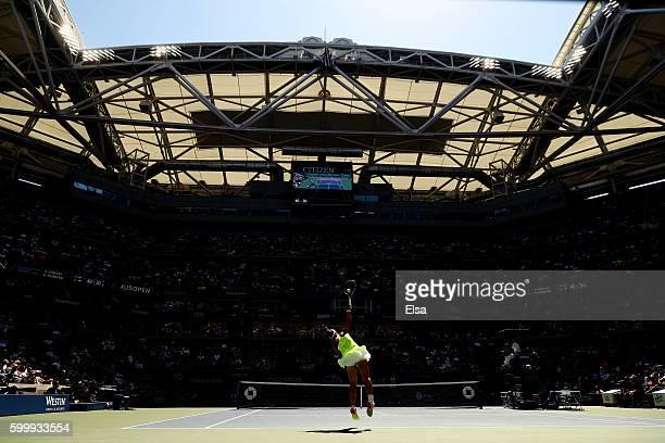 Ana Konjuh of Croatia serves to Karolina Pliskova of the Czech Republic during their Women's Singles Quarterfinal match on Day Ten of the 2016 US...