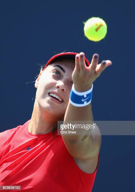 Ana Konjuh of Croatia serves to Natalia Vikhlyantseva of Russia during Day 3 of the Bank of the West Classic at Stanford University Taube Family...