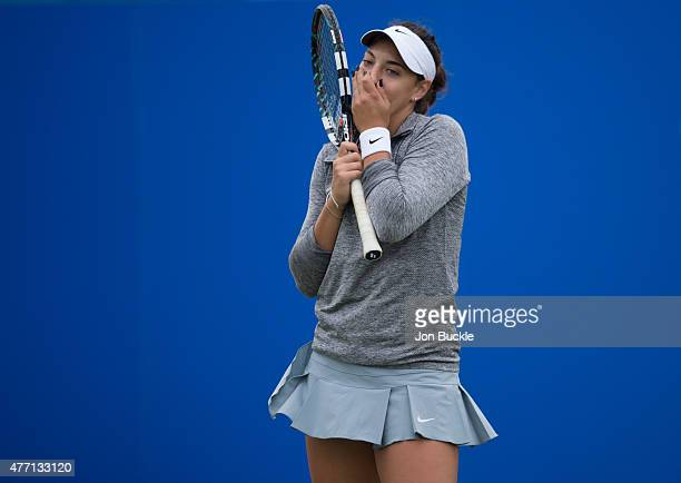 Ana Konjuh of Croatia stands in disbelief during her match against Alison Riske of USA on day seven of the WTA Aegon Open Nottingham at Nottingham...