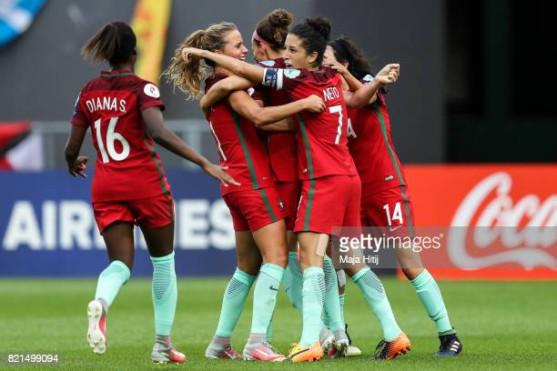 Ana Leite of Portugal celebrates with a team scoring her sides second goal during the UEFA Women's Euro 2017 Group D match between Scotland v...