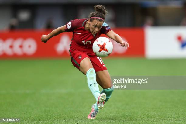 Ana Leite of Portugal controls the ball during the UEFA Women's Euro 2017 Group D match between Scotland v Portugal at Sparta Stadion on July 23 2017...