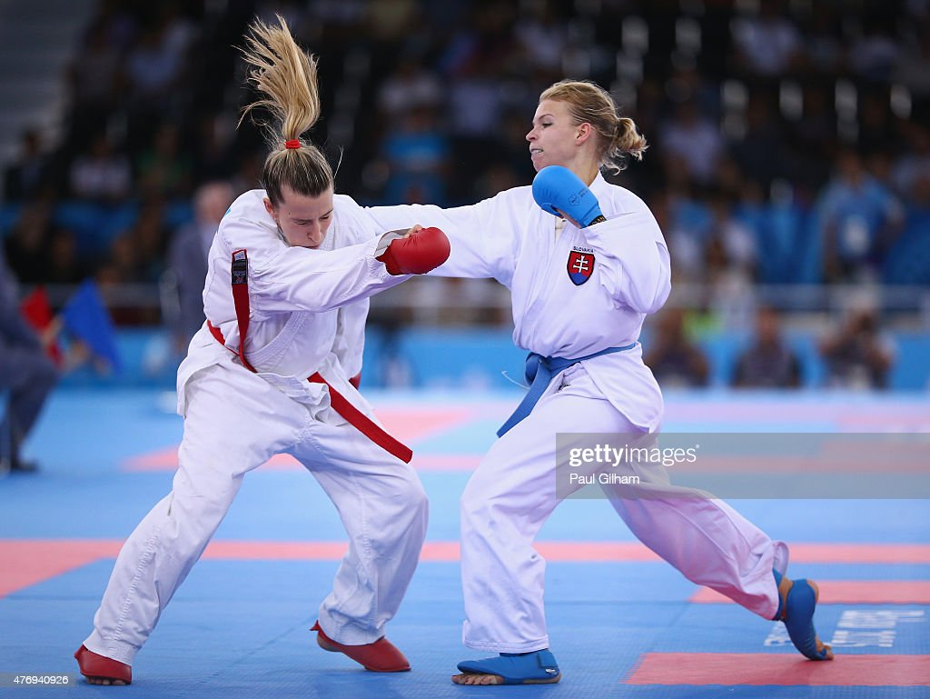Ana Lenard of Croatia competes against Ingrida Suchankova of Slovakia in the Women's Kumite 61kg Elimination Round during day one of the Baku 2015...