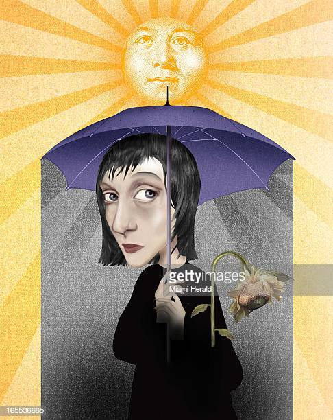 Ana Lense Larrauri color illustration of sun shining around sad woman underneath the dark shade of umbrella with dying sunflower
