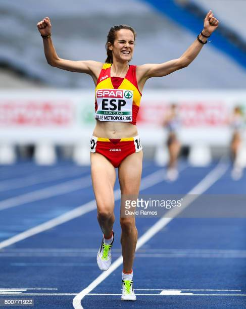Ana Lozano of Spain celebrates after winning in the Women's 5000m Final during day three of the European Athletics Team Championships at the Lille...