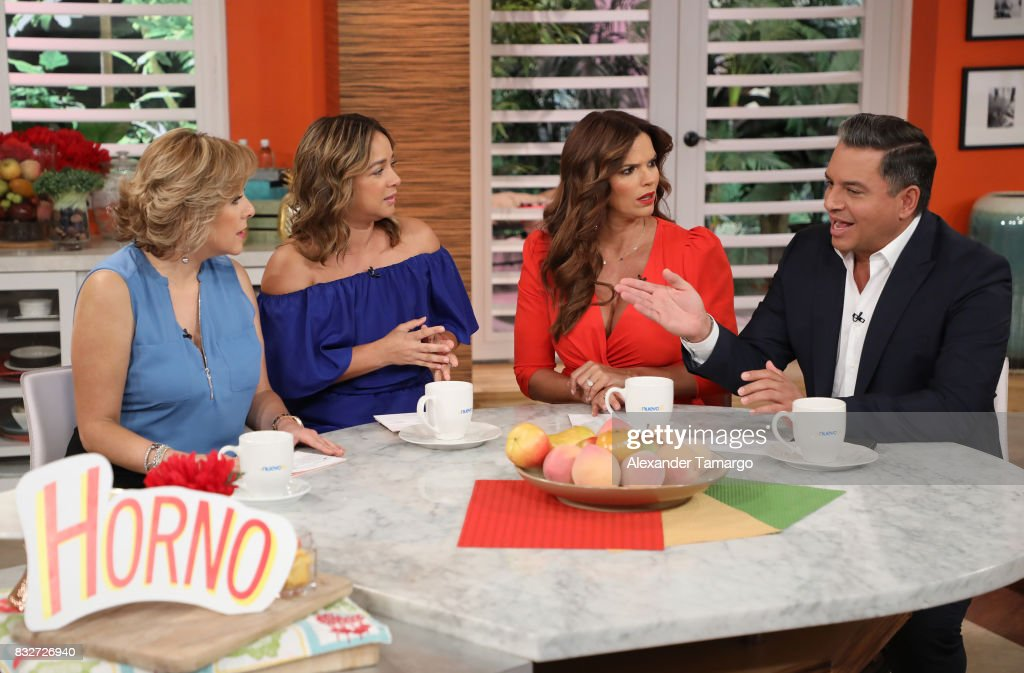 Ana Maria Canseco, Adamari Lopez, Rashel Diaz and Daniel Sarcos are seen on the set of 'Un Nuevo Dia' at Telemundo Studios on August 16, 2017 in Miami, Florida.