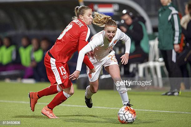 Ana Maria Crnogorcevic of Switzerland Danique Groenen of Holland during the 2016 UEFA Women's Olympic Qualifying Tournament match between Switzerland...