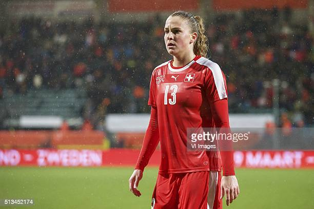 Ana Maria Crnogorcevic of Switzerland during the 2016 UEFA Women's Olympic Qualifying Tournament match between Switzerland and Netherlands on March 2...