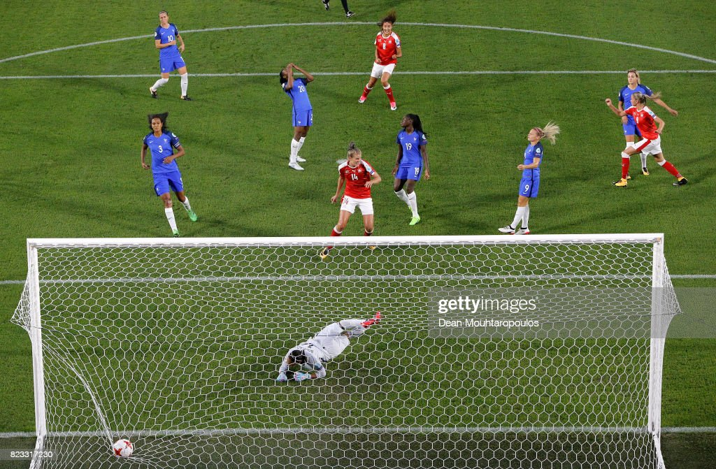 Ana Maria Crnogorcevic #9 of Switzerland heads the opening goal over Sarah Bouhaddi, goalkeeper of France during the Group C match between Switzerland and France during the UEFA Women's Euro 2017 at Rat Verlegh Stadion on July 26, 2017 in Breda, Netherlands.