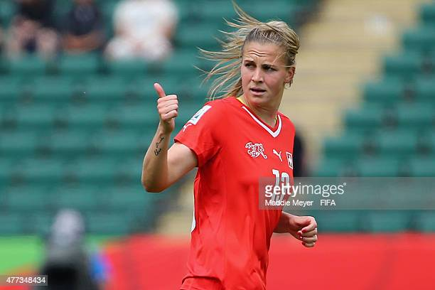 Ana Maria Crnogorcevic of Switzerland signals towards the bench after scoring a goal against Cameroon during the Women's World Cup 2015 Group C match...
