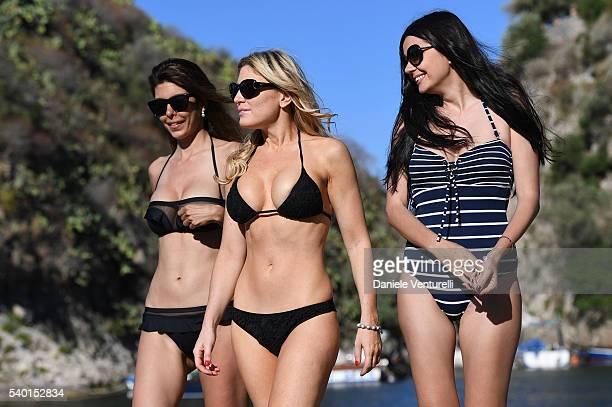 Ana Maria Folostina Hofit Golan and Albertina Ionescu are seen on June 14 2016 in Taormina Italy