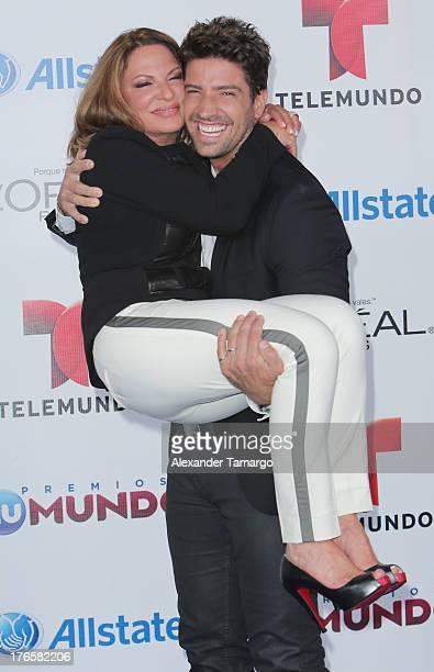 Ana Maria Polo and David Chocarro attend Telemundo's Premios Tu Mundo Awards at American Airlines Arena on August 15 2013 in Miami Florida