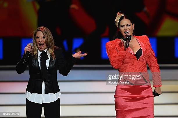 Ana Maria Polo and Litzy perform onstage at Telemundo's 'Premios Tu Mundo' Awards 2015 at American Airlines Arena on August 20 2015 in Miami Florida