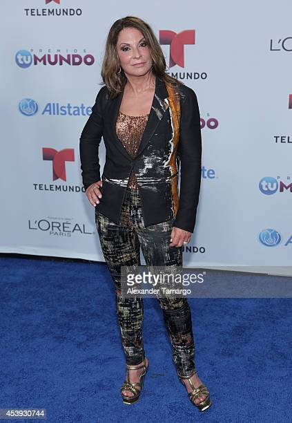 Ana Maria Polo arrives at Telemundo's Premios Tu Mundo Awards 2014 at American Airlines Arena on August 21 2014 in Miami Florida