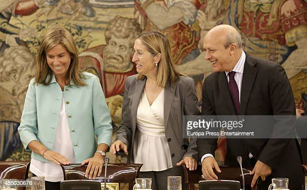 Ana Mato Ana Pastor and Jose Ignacio Wert attend audience at Zarzuela Palace on September 9 2014 in Madrid Spain
