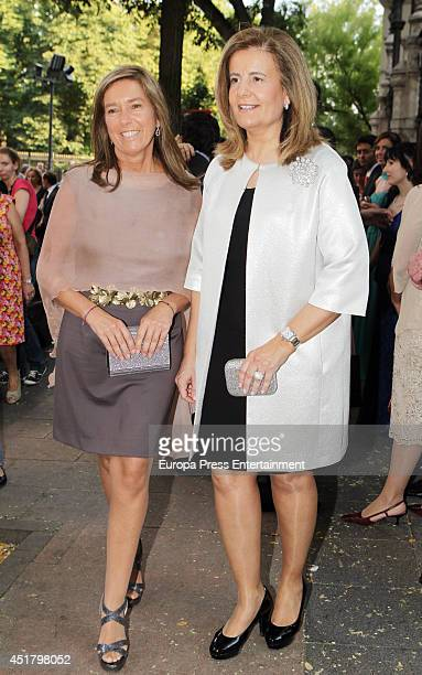 Ana Mato and Fatima Bañez attend the wedding of Rocio Posada and Jose Rubio Vela at San Manuel and San Benito church on July 5 2014 in Madrid Spain