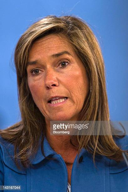 Ana Mato Spain's health minister speaks during a news conference following a cabinet meeting at the Monclau palace in Madrid Spain on Friday April 20...