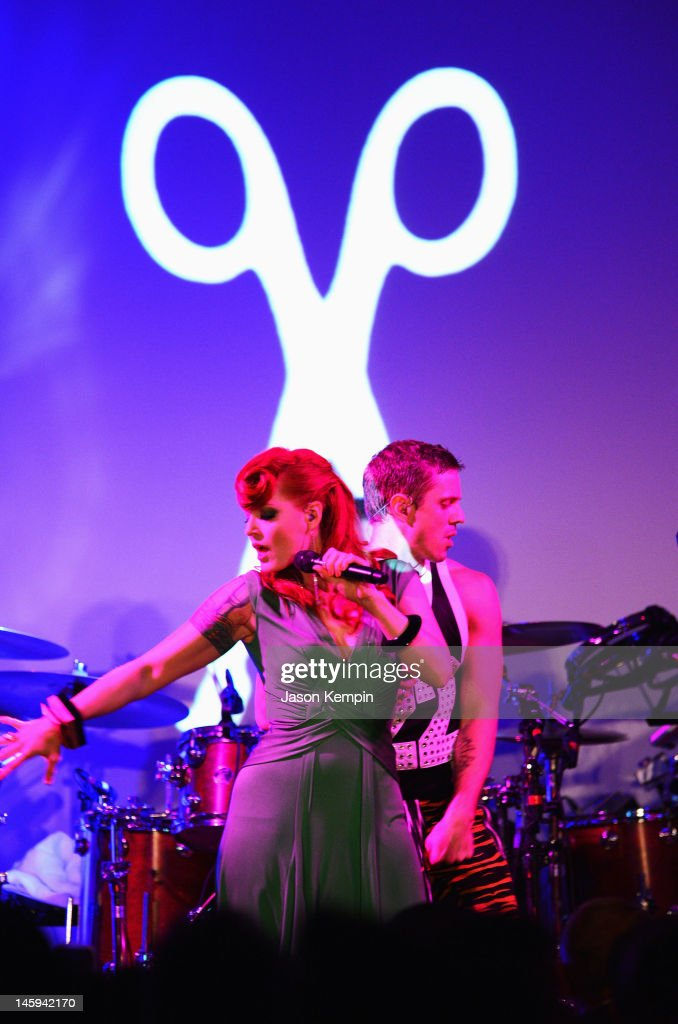 <a gi-track='captionPersonalityLinkClicked' href=/galleries/search?phrase=Ana+Matronic&family=editorial&specificpeople=204702 ng-click='$event.stopPropagation()'>Ana Matronic</a> and the band Scissor Sisters perform during the 3rd annual amfAR Inspiration Gala New York at The New York Public Library - Stephen A. Schwarzman Building on June 7, 2012 in New York City.