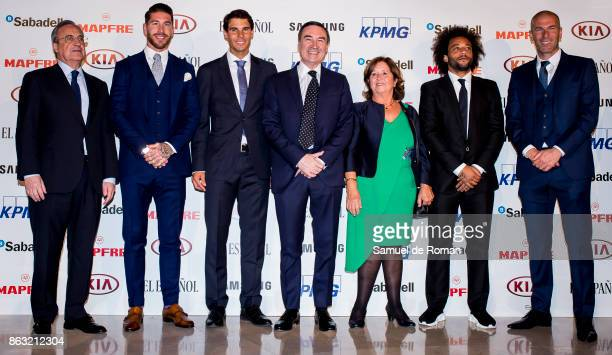 Ana Miralles Sergio Ramos Florentino Perez Zinedine Zidane Marcelo Rafa Nadal and Pedro J Ramirez during 'Los Leones' Awards 2017 on October 19 2017...