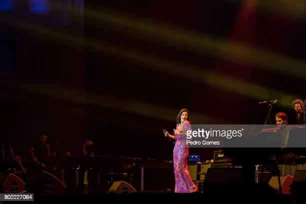 Ana Moura performs during Juntos por Todos solidarity concert for the victims of the forest fires in the Pedrogao Grande region of Portugal on June...