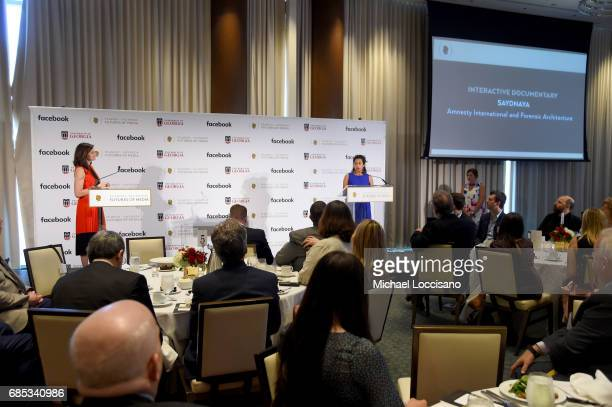 Ana Naomi de Sousa accepts an award onstage on behalf of Saydnaya at the PeabodyFacebook Futures Of Media Awards at Hotel Eventi on May 19 2017 in...