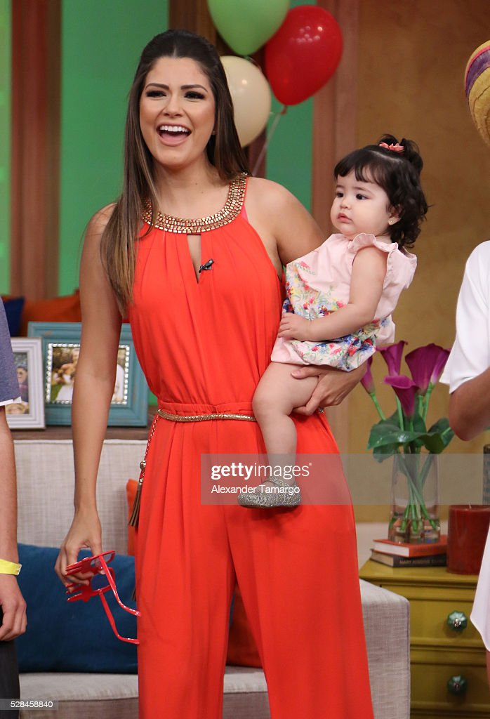 Ana Patrica Gamez is seen with her daughter Giulietta on the set of 'Despierta America' at Univision Studios on May 5, 2016 in Miami, Florida.