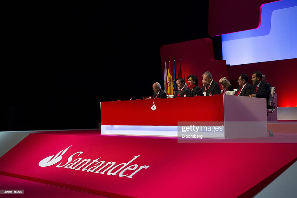 <a gi-track='captionPersonalityLinkClicked' href=/galleries/search?phrase=Ana+Patricia+Botin&family=editorial&specificpeople=2096349 ng-click='$event.stopPropagation()'>Ana Patricia Botin</a>, chairman of Banco Santander SA, center, and Javier Marin, chief executive officer of Banco Santander SA, center left, sit with company executives for an annual general meeting (AGM) in Santander, Spain, on Monday, Sept. 15, 2014. Botin, 53, made her debut appearance after being named chairman on Sept. 10 following the death of her father Emilio the night before at the age of 79. Photographer: Angel Navarrete/Bloomberg via Getty Images