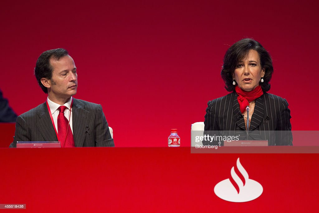 <a gi-track='captionPersonalityLinkClicked' href=/galleries/search?phrase=Ana+Patricia+Botin&family=editorial&specificpeople=2096349 ng-click='$event.stopPropagation()'>Ana Patricia Botin</a>, chairman of Banco Santander SA, right, speaks as Javier Marin, chief executive officer of Banco Santander SA, listens during an annual general meeting (AGM) in Santander, Spain, on Monday, Sept. 15, 2014. Botin, 53, made her debut appearance after being named chairman on Sept. 10 following the death of her father Emilio the night before at the age of 79. Photographer: Angel Navarrete/Bloomberg via Getty Images