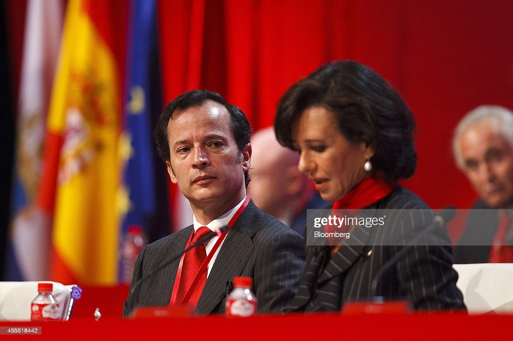 <a gi-track='captionPersonalityLinkClicked' href=/galleries/search?phrase=Ana+Patricia+Botin&family=editorial&specificpeople=2096349 ng-click='$event.stopPropagation()'>Ana Patricia Botin</a>, chairman of Banco Santander SA, right, speaks while Javier Marin, chief executive officer of Banco Santander SA, listens during an annual general meeting (AGM) in Santander, Spain, on Monday, Sept. 15, 2014. Botin, 53, made her debut appearance after being named chairman on Sept. 10 following the death of her father Emilio the night before at the age of 79. Photographer: Angel Navarrete/Bloomberg via Getty Images