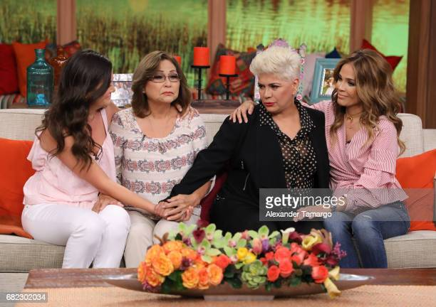 Ana Patricia Gamez and Karla Martinez are seen with their mothers on the set of 'Despierta America' to promote the film 'Baywatch' at Univision...