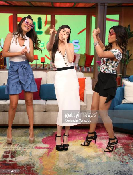 Ana Patricia Gamez Sofia Carson and Francisca Lachapel are seen on the set of 'Despierta America' to promote the Disney film 'DESCENDENTS 2' at...