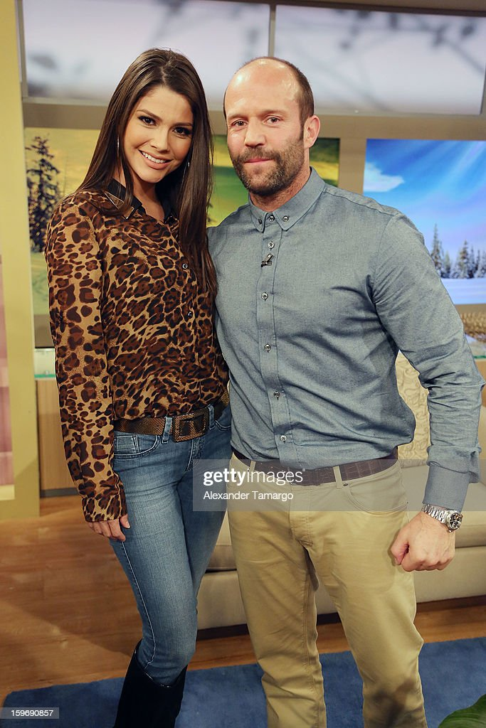 Ana Patricia Gonzalez and Jason Statham are seen on the set of Despierta America at Univision Headquarters on January 18, 2013 in Miami, Florida.