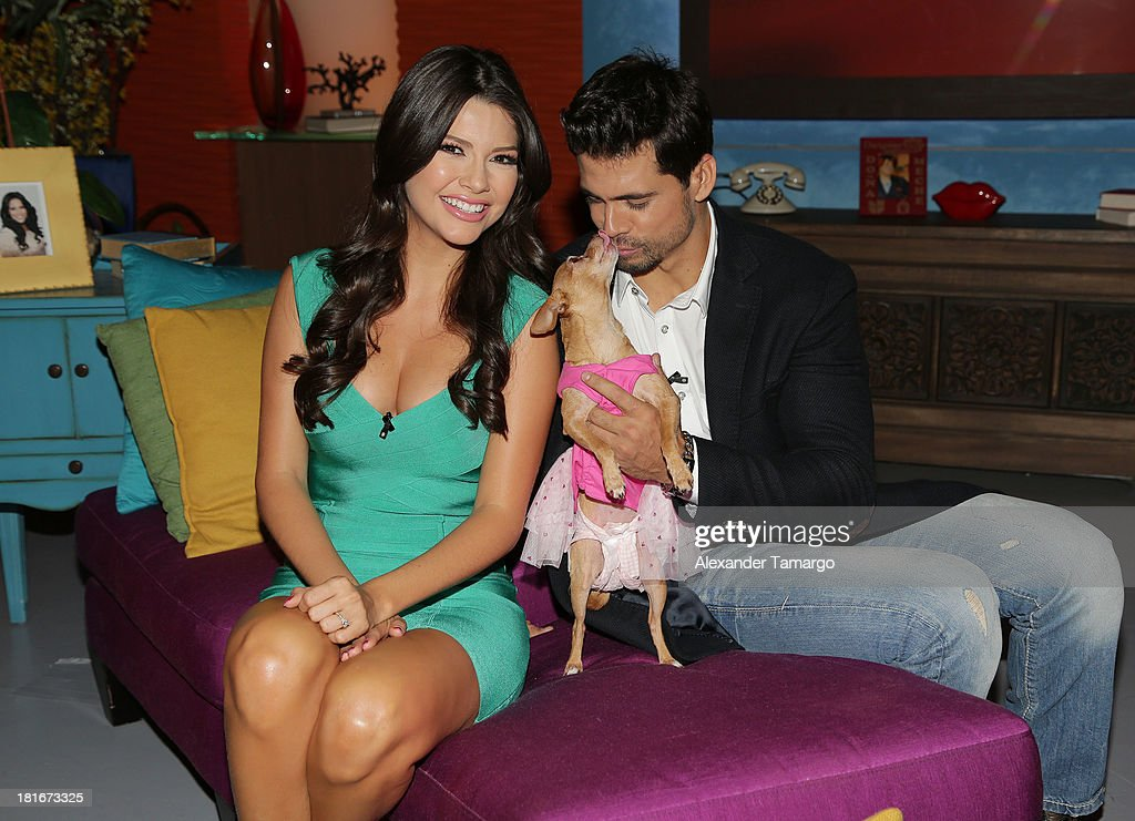 <a gi-track='captionPersonalityLinkClicked' href=/galleries/search?phrase=Ana+Patricia+Gonzalez&family=editorial&specificpeople=7013097 ng-click='$event.stopPropagation()'>Ana Patricia Gonzalez</a> and Pedro Moreno are seen on the set of Univision's 'Despierta America' morning show at Univision Headquarters on September 23, 2013 in Miami, Florida.