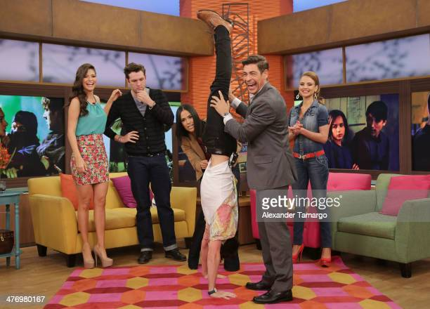 Ana Patricia Gonzalez Christian Madsen Karla Martinez Ben LloydHughes Johnny Lozada and Ximena Cordoba make an appearance on the set of Univision's...