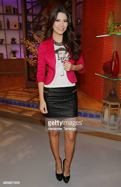 Ana Patricia Gonzalez is seen on the set of Univision's 'Despierta America' promoting the movie 'Pompeii' at Univision Headquarters on January 30...