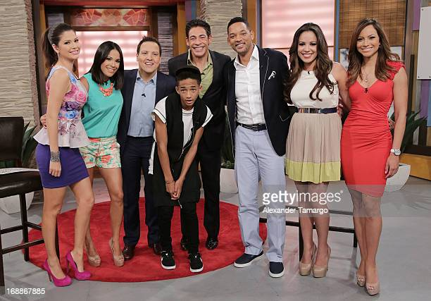 Ana Patricia Gonzalez Karla Martinez Raul Gonzalez Jaden Smith Johnny Lozada Will Smith Stephanie Severino and Satcha Pretto visit Univision's...
