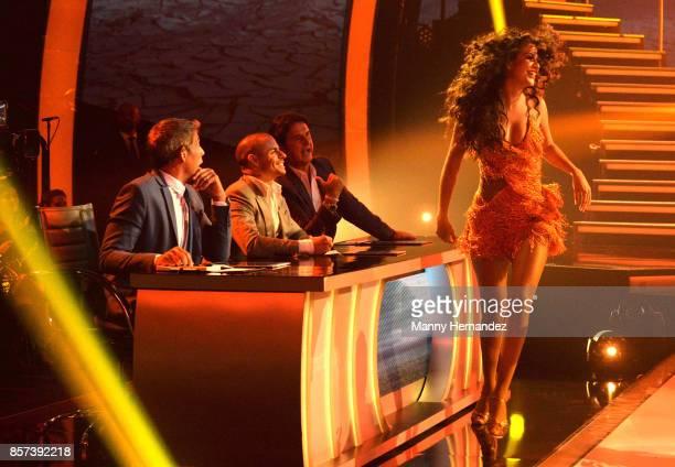 Ana Patricia with Johnny Lozada Casper Smart and Poty Castillo at taping for Mira Quien Baila at Univision Studios on October 1 2017 in Miami Florida