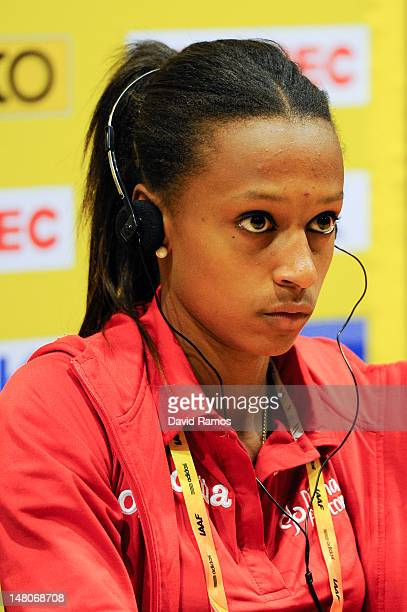 Ana Peleteiro of Spain addresses the media during the press conference before the start of the 14th IAAF World Junior Championships at Estadi Olimpic...