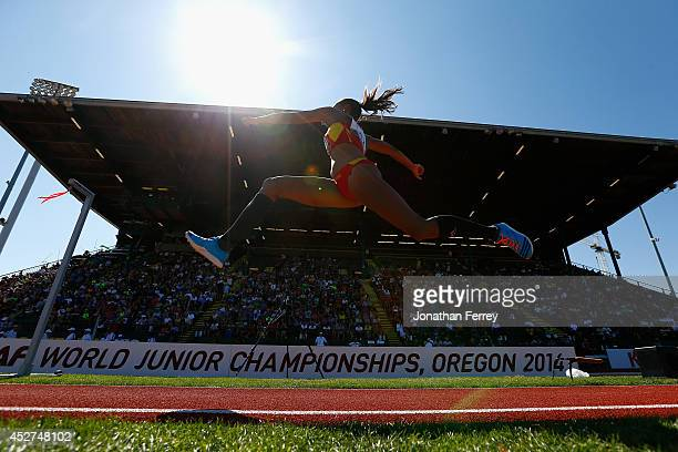 Ana Peleteiro of Spain competes in the women's triple jump during day five of the IAAF World Junior Championships at Hayward Field on July 26 2014 in...