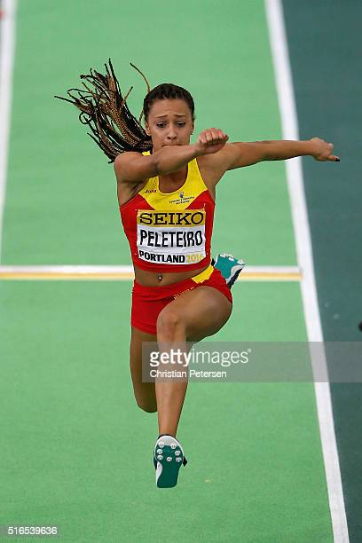 Ana Peleteiro of Spain competes in the Women's Triple Jump Final during day three of the IAAF World Indoor Championships at Oregon Convention Center...