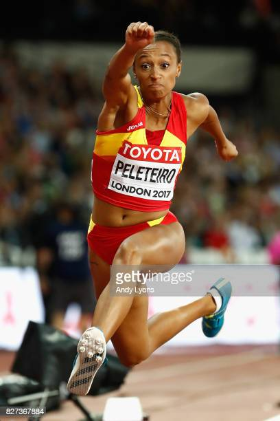 Ana Peleteiro of Spain competes in the Women's Triple Jump final during day four of the 16th IAAF World Athletics Championships London 2017 at The...