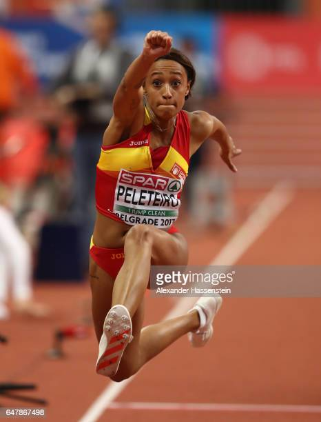 Ana Peleteiro of Spain competes in the Women's Triple Jump final on day two of the 2017 European Athletics Indoor Championships at the Kombank Arena...
