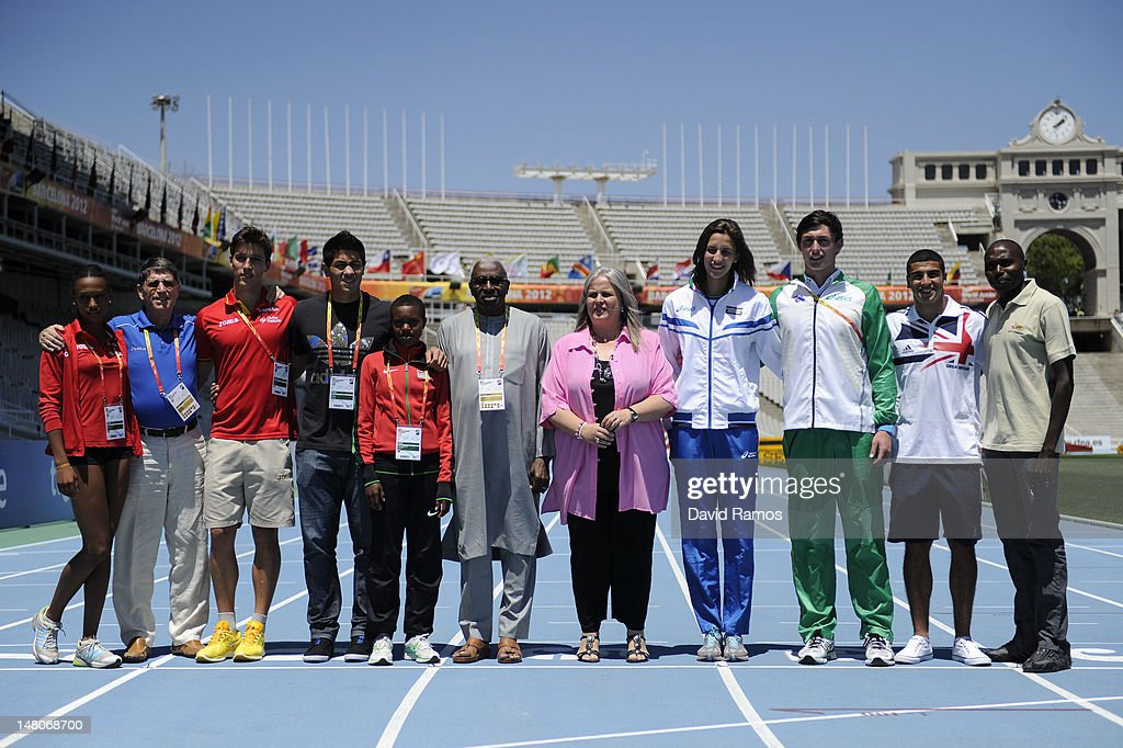 Ana Peleteiro of Spain, Co-President LOC Jose Maria Odriozola, Didac Salas of Spain, Braian Toledo of Argentina, Faith Chepngetich Kipyegon of Kenya, IAAF President <a gi-track='captionPersonalityLinkClicked' href=/galleries/search?phrase=Lamine+Diack&family=editorial&specificpeople=636938 ng-click='$event.stopPropagation()'>Lamine Diack</a>, Co-President LOC Maite Fandos, Alessia Trost of Italy, Jake Stein of Australia, Adam Gemili of Great Britain and <a gi-track='captionPersonalityLinkClicked' href=/galleries/search?phrase=Wilson+Kipketer&family=editorial&specificpeople=162807 ng-click='$event.stopPropagation()'>Wilson Kipketer</a> of Denmark pose for the media before the start of the 14th IAAF World Junior Championships at Estadi Olimpic Lluis Companys on July 9, 2012 in Barcelona, Spain.