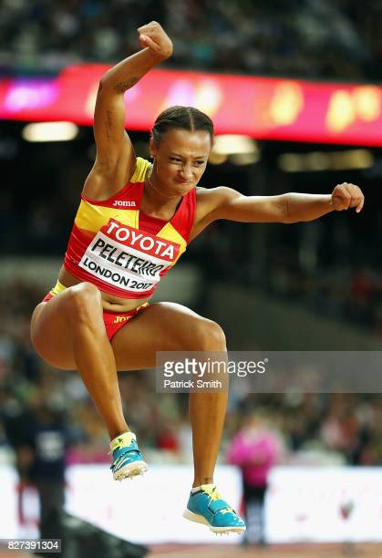 Ana Peleteiro of Spain reacts during the Women's Triple Jump final on day four of the 16th IAAF World Athletics Championships London 2017 at The...