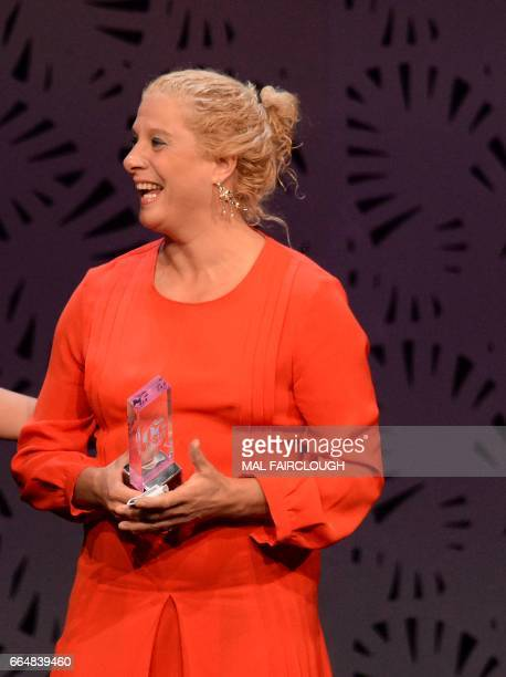 Ana Ros of Slovenia holds her trophy for the Worlds Best Female Chef award at the World's 50 Best Restaurants awards in Melbourne on April 5 2017...