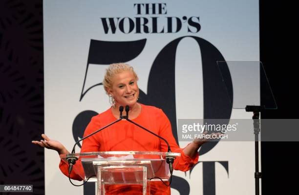 Ana Ros of Slovenia wins the Worlds Best Female Chef award at the World's 50 Best Restaurants awards in Melbourne on April 5 2017 Contemporary New...