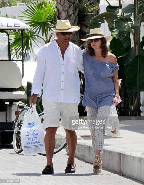 Ana Rosa Quintana and her husband Juan Munoz sighted on August 16 2011 in Ibiza Spain