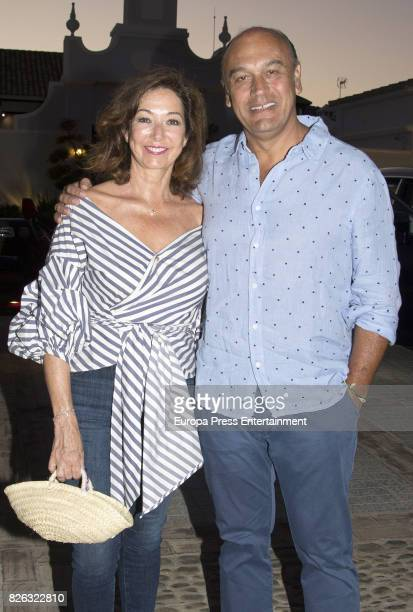 Ana Rosa Quintana and her husband Juan Muñoz attend a cocktail benefit for children with Cancer of the Andex Association in Sotogrande on August 3 on...